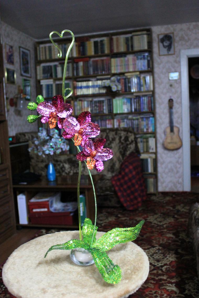 Мамины цветы из пайеток - Ярмарка Мастеров - ручная работа, handmade
