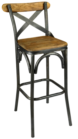 The Powell Stool Successfully Blends Both Wood And Metal Materials