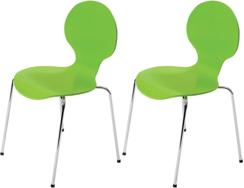 Jackpot Lime Green Dining Chair With Chrome Legs Set Of 4