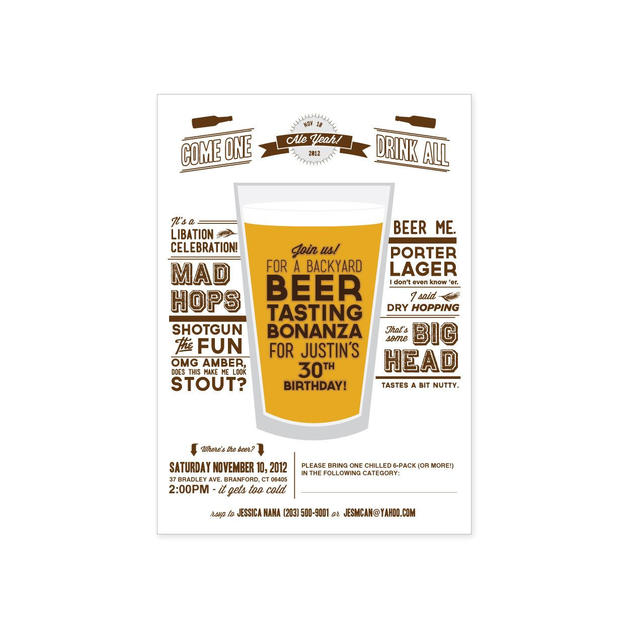 PRINTABLE Beer Tasting Party invitation 1520 via Etsy – Beer Party Invitations