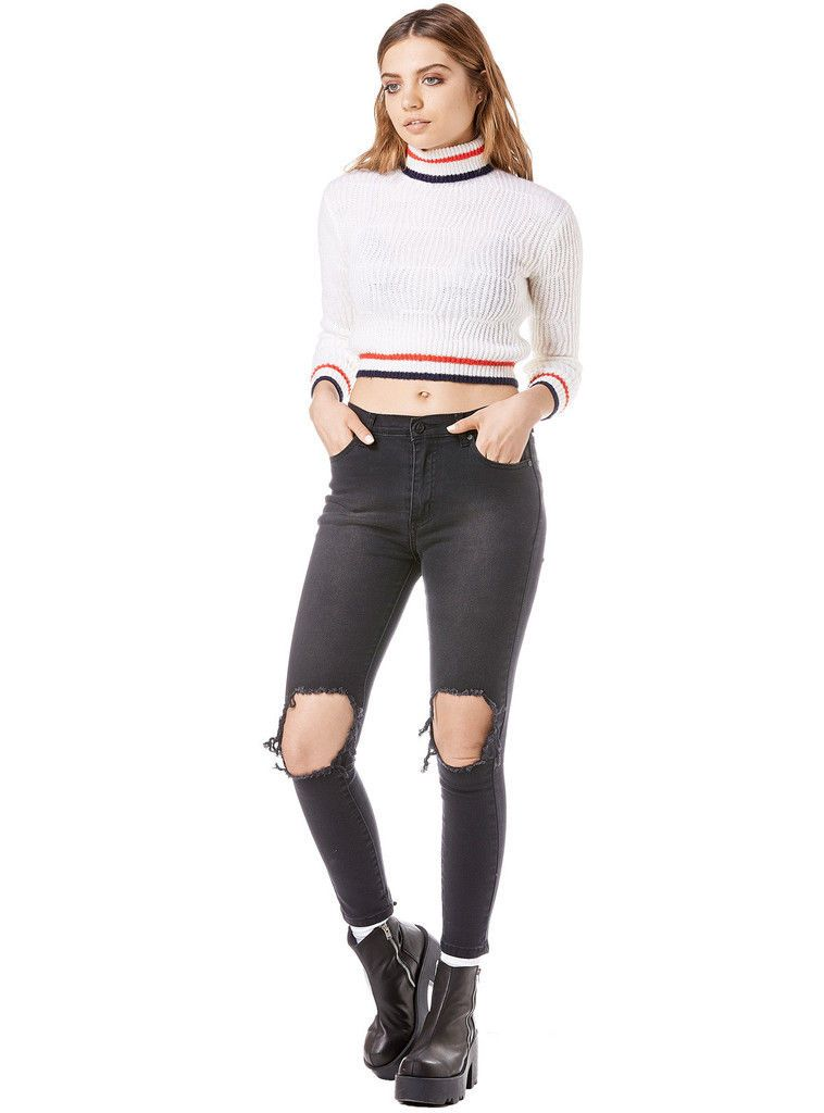 NWT~UNIF~Olympia Cropped Turtleneck Sweater~Cream~M~$89 *SOLD OUT ...