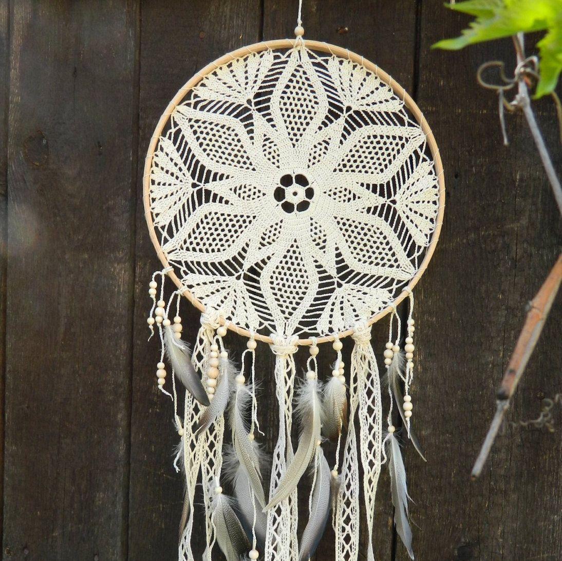 Beige crochet lace dream catcher Rustic home decor boho ...