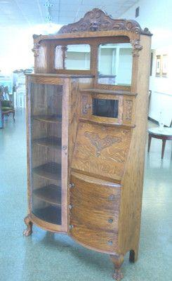 Beautiful Oak Drop Front Claw Footed Bookcase Secretary   eBay