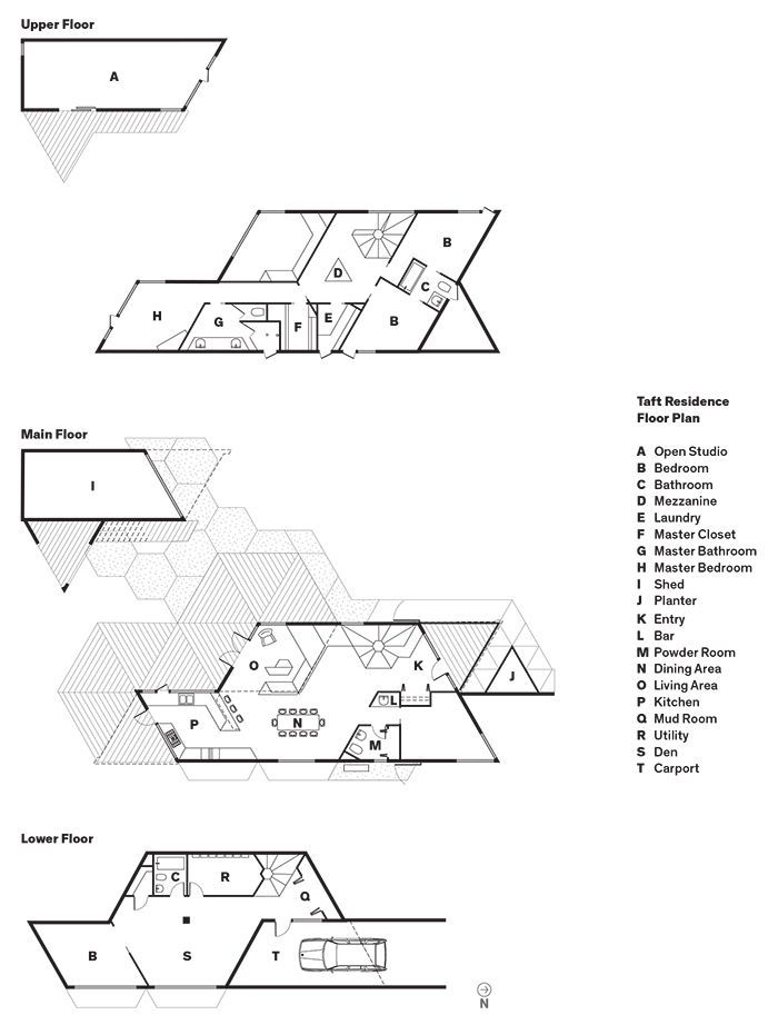 Modern prefab modular and triangular home by HOMB in Portland floor plans