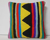 "16""Turkish cushion stripe pillow yellow black purple green decorative throw pillow kilim pillow cover decorative pillow accent pillow sham"