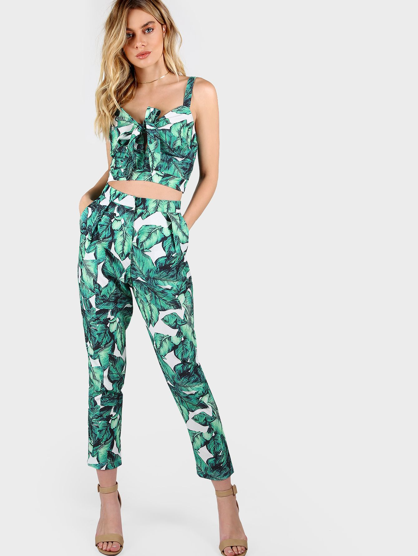 efa5668a32 Front Tie Leaf Print Crop and Matching Pants Set -SheIn(Sheinside ...