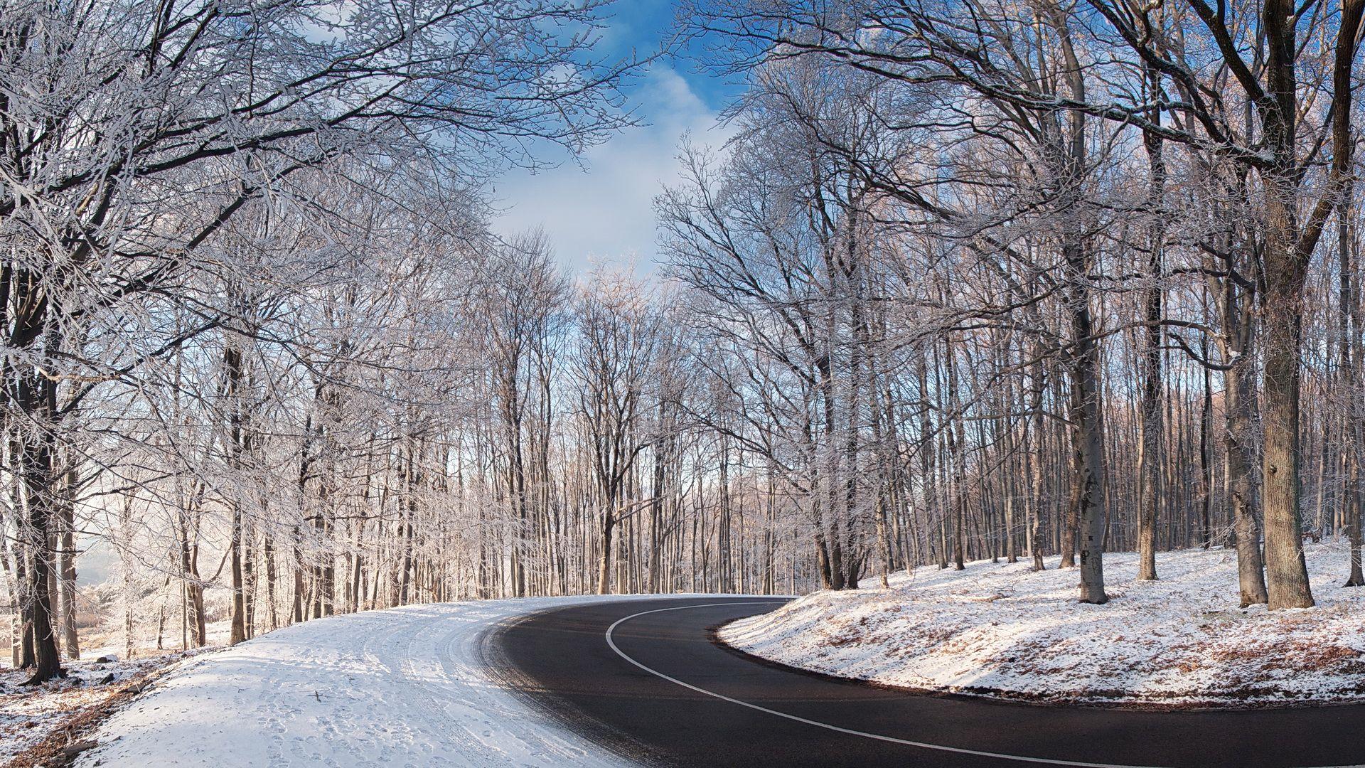 Snowy Bended Road Hd Wallpaper Fullhdwpp Full Hd Wallpapers 1920x1080 Winter Road Winter Scenes National Parks Hd wallpaper snow winter road asphalt