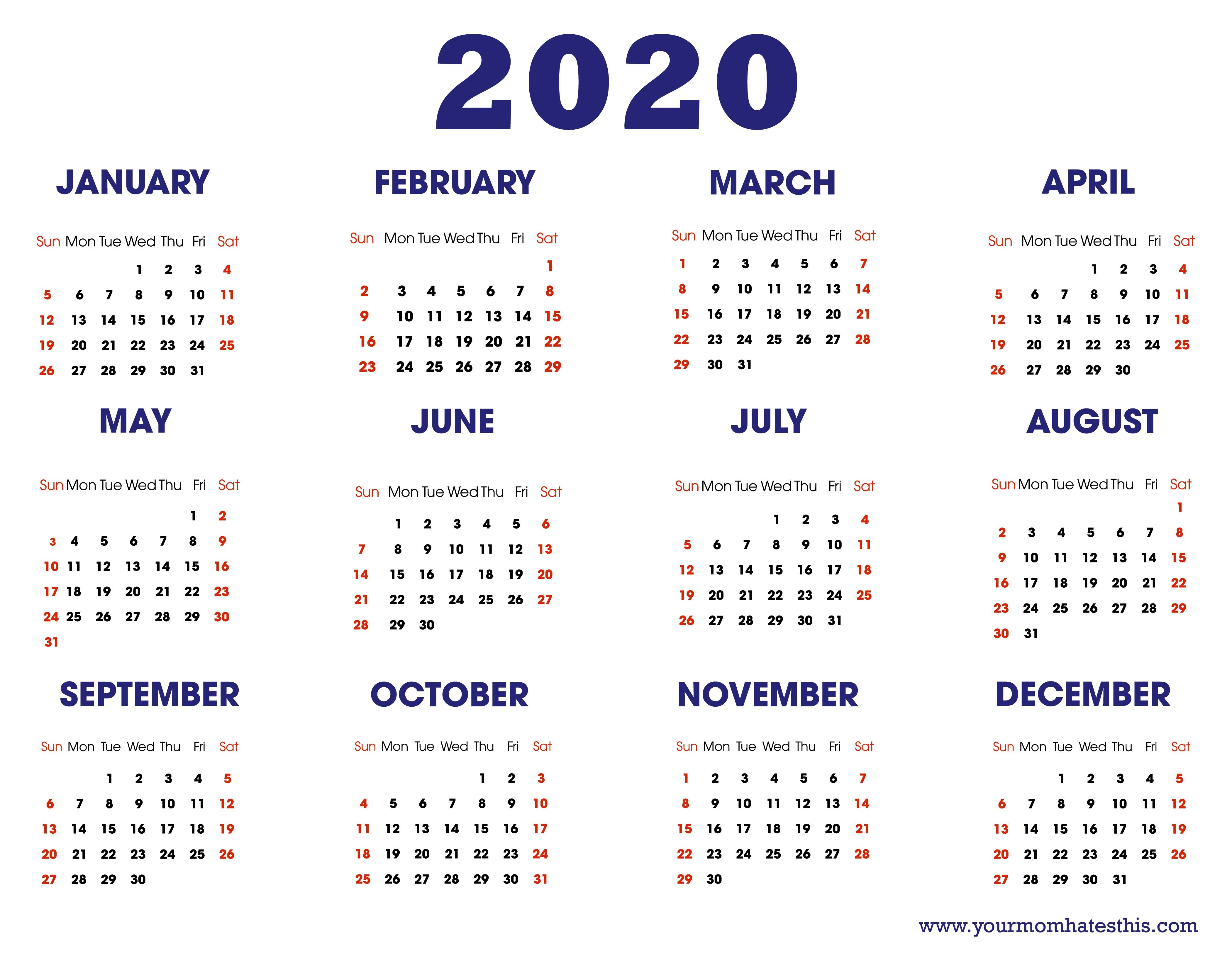 Unique Calendar Template Printable 2020