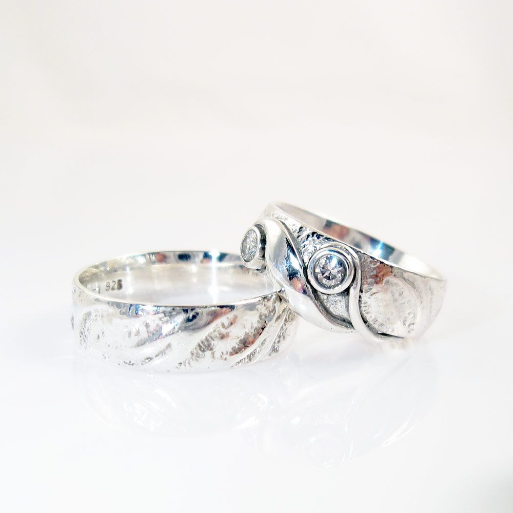 Elven Wedding Rings Of Silver With Bark Like Surface Gallericastens Dk