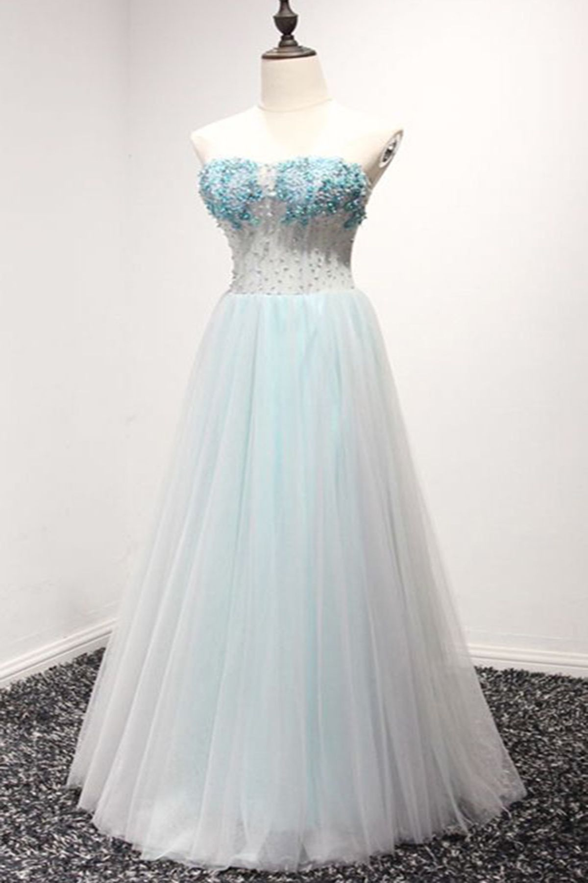 Sweetheart baby blue tulle long aline prom dress long evening