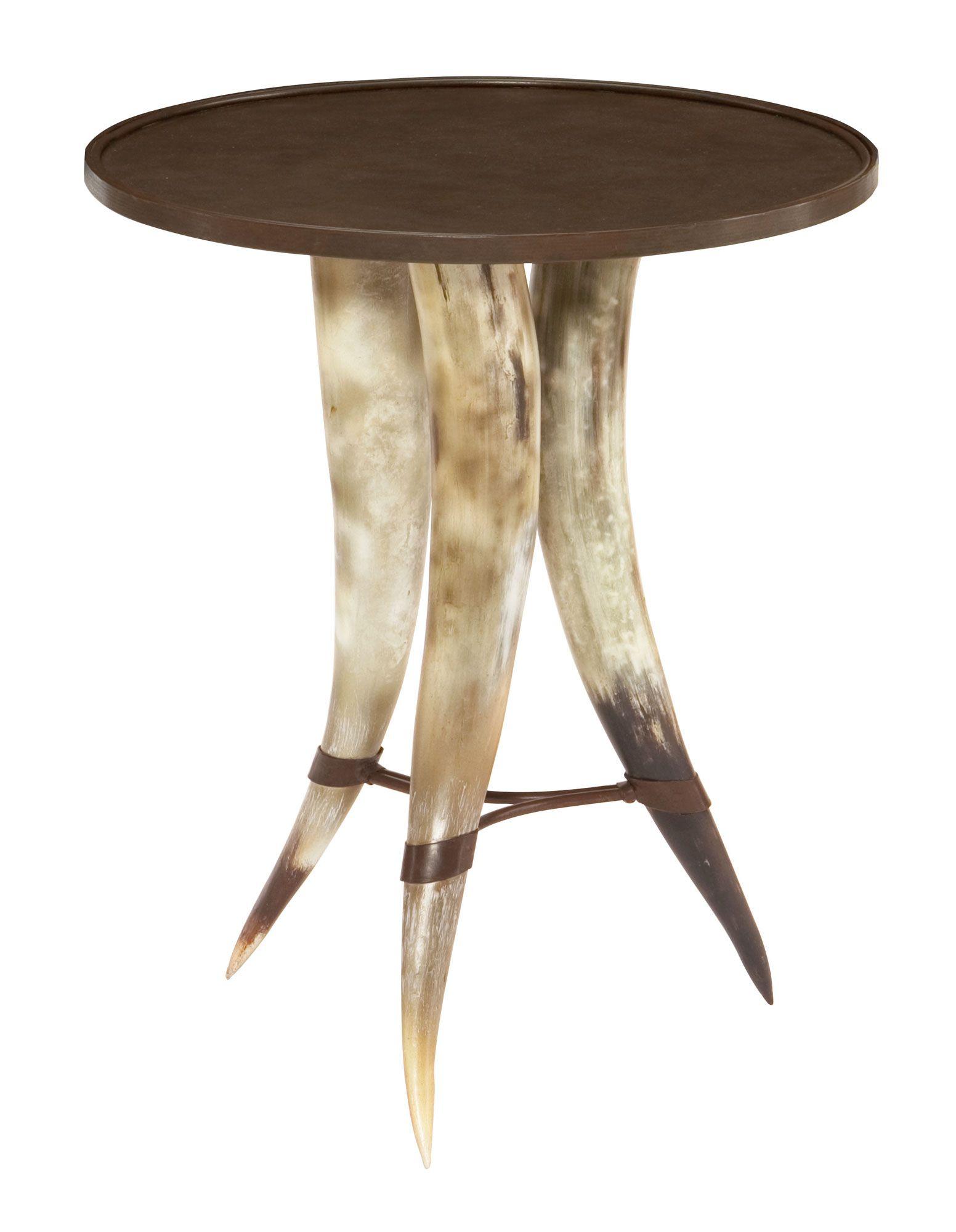358 104 Texas Horn Chairside Table | Bernhardt Round Dia 20 H 24 Legs $765  #2Foot