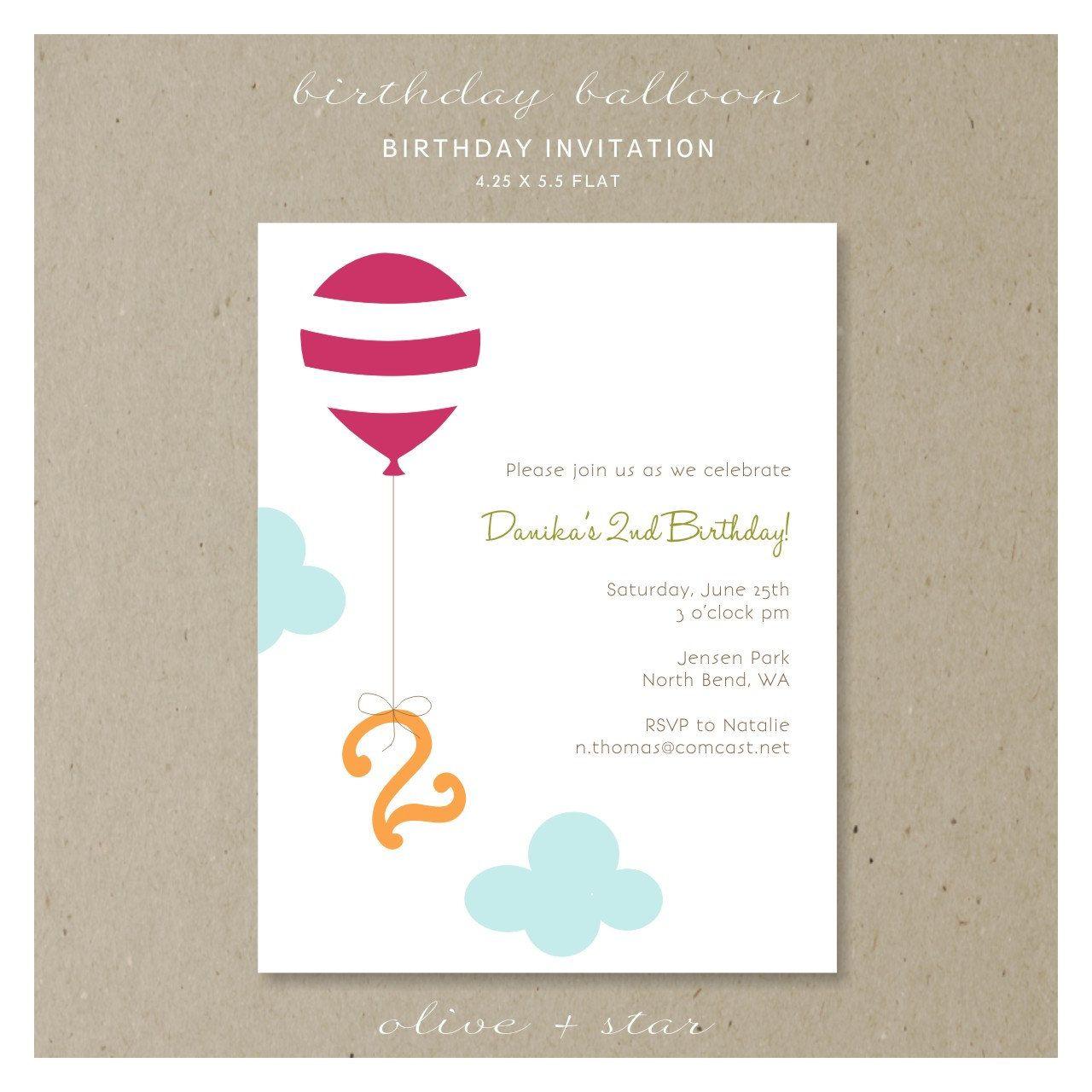birthday balloon : birthday invitation set. $16.25, via Etsy. | Nate ...