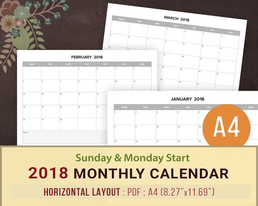 editable monthly calendar 2018