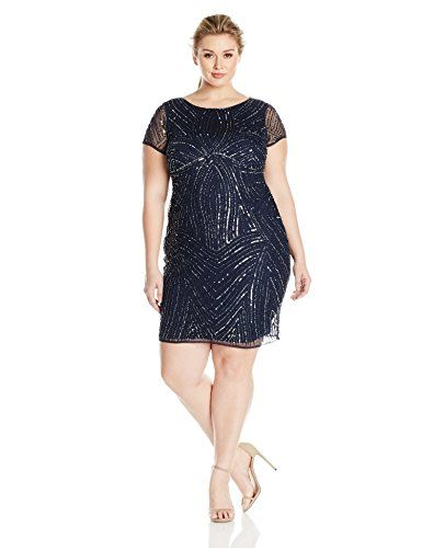 Adrianna Papell Women's Plus Size Short Sleeve Fully Beaded Sheath Dress