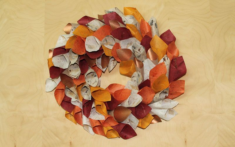 Fall wreath of paper