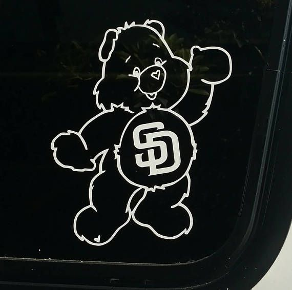 Padres care bears decal san diego die cut vinyl sticker retro