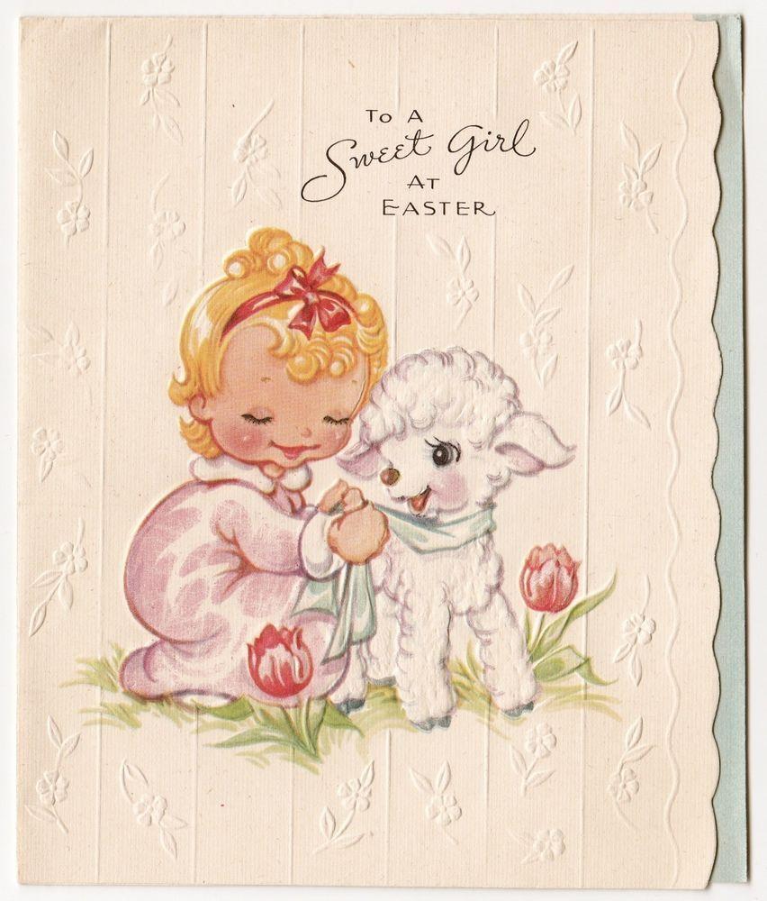 Vintage Greeting Card Easter Unused Little Girl Cute Lamb A Meri Card A350 Desenhos Infantis Arte Estampas