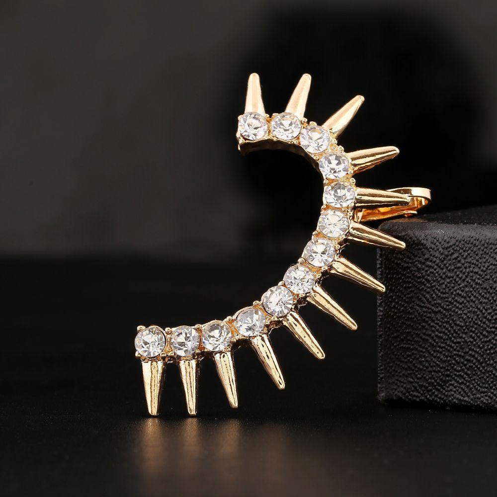 1PCS Fashion Punk Curved Crystal Ear Cuff Curved Rivet Ear Clip Earrings Left Ear Earring Jewelry Ear Cuffs For Girl Women Gift