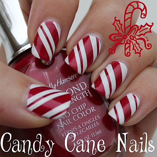 Candy Cane Nails For Christmas Christmasnails Holidaynailart I Was Literally Trying To Imagine How Do This Like Ten Minutes Ago