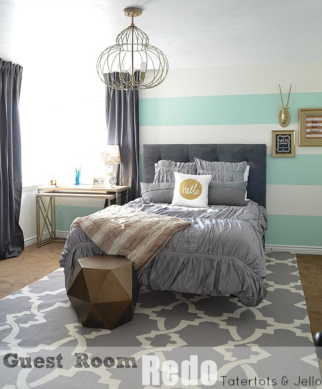 Striped Wall Guest Bedroom - Reveal