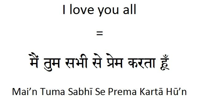 How To Say I Love You All In Hindi English Vocabulary Words Learning Learn Hindi Learn English Words