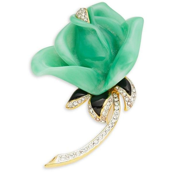 Kenneth Jay Lane Pave Enamel Rose Pin (265 BRL) ❤ liked on Polyvore featuring jewelry, brooches, green, enamel jewelry, kenneth jay lane brooch, sparkle jewelry, enamel brooch and pin jewelry