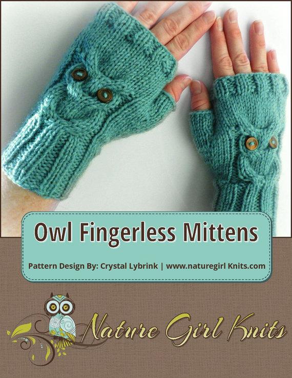 KNITTING PATTERN, Owl Cable Knit Fingerless Mittens, PDF Digital ...