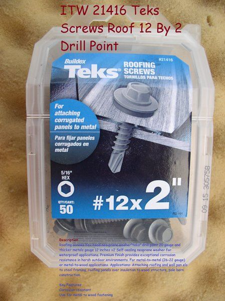 Itw 21416 Teks Screws Roof 12 By 2 Drill Point Screws Roofing Screws Drill