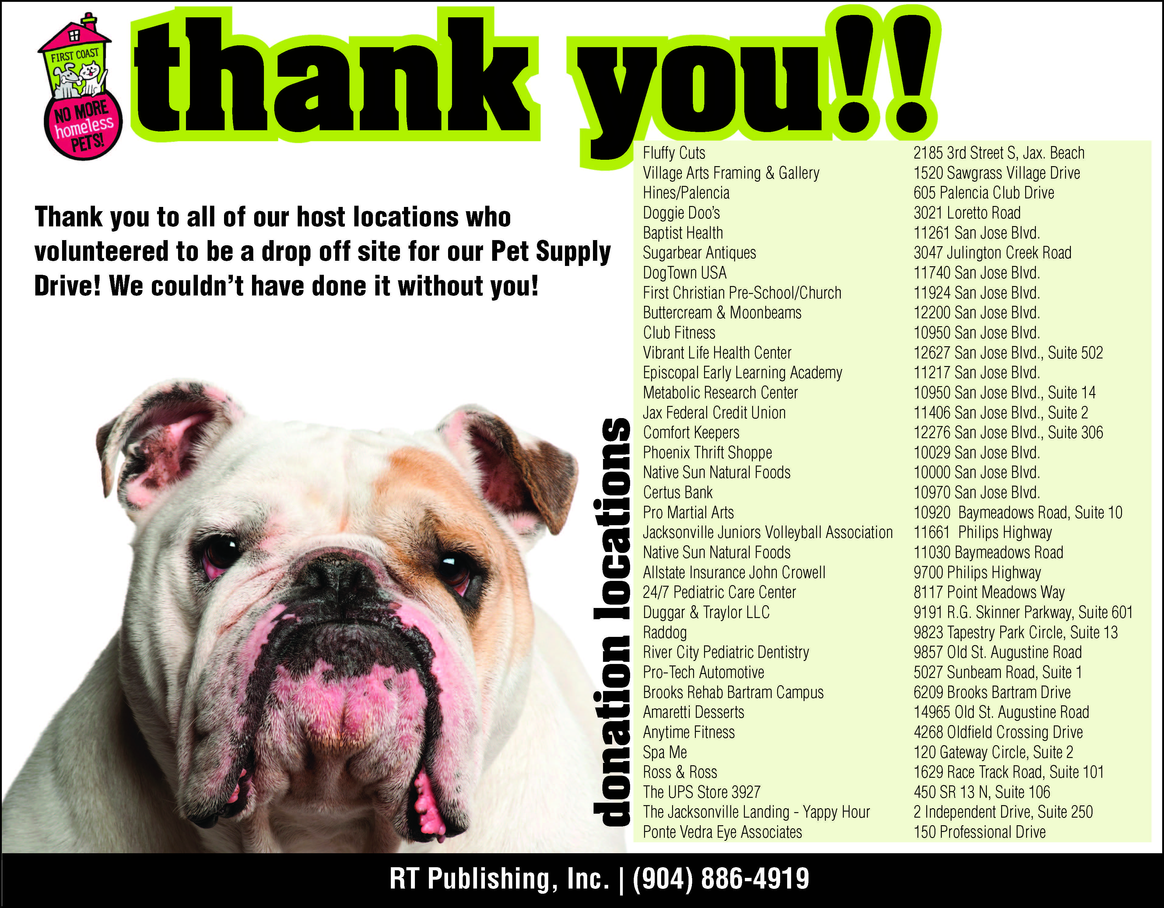 Thank You To All Of Our Supporters Who Donated Supplies