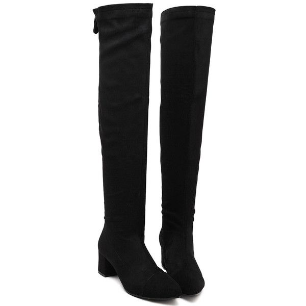 SheIn(sheinside) Black Over The Knee Zipper Boots (€36) ❤ liked on Polyvore featuring shoes, boots, black, sheinside, black winter boots, above the knee boots, black over the knee boots, black boots and over knee high boots