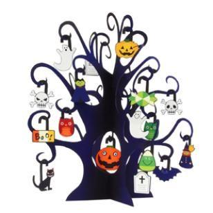 Arbre Miniature: Halloween (Arbre Fantôme),Jouets,Créations en papier,Halloween,potiron,ornement,Potiron,fête,décoration,arbre,arbre d'Halloween