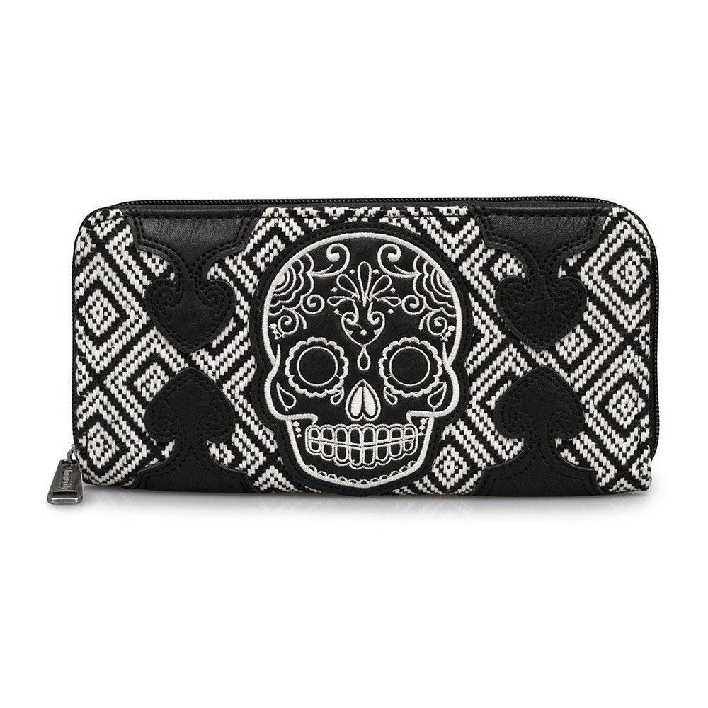 Loungefly Black Skull Zipper Wallet
