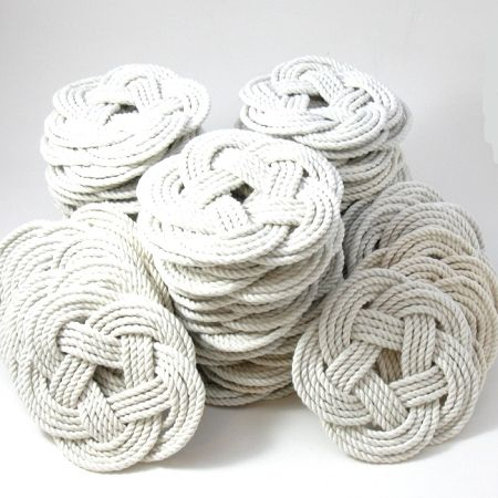 white nautical woven coasters - onderleggers