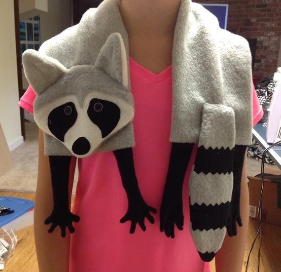 Raccoon Scarf PDF instant download Sewing Pattern, fun kids Fleece, Trash Panda, Rocket Raccoon, full sized printable, unique, novelty