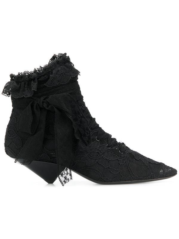 ab102e0de1a ... luxury fabrics and expert design; the beloved label remains a cult  classic with every season. These black suede and silk lace Blaze 45 ankle  boots are a ...