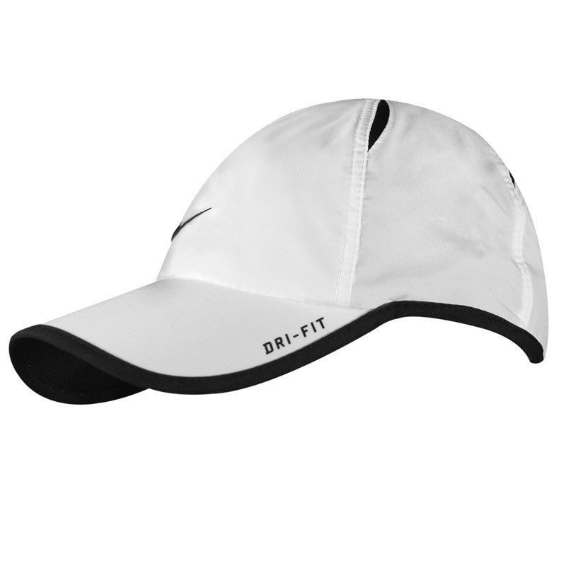 b3b1d5262cf0c New Nike Feather Light Cap Hat Dri Fit Running Tennis Football 595510-100  White  Nike Nike Featherlight Tennis Hats White