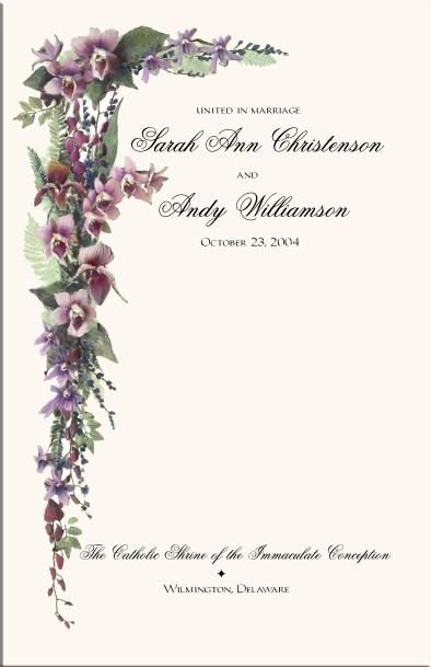 Orchid Wedding Program Examples Wording Ceremony Programs Directories Order Of Service Church Covers
