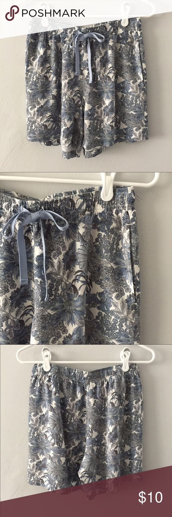 Uniqlo Liberty of London Lounge Shorts This is a pair of super comfy pajama/lounge shorts from Uniqlo. The pattern is a blue Liberty of London floral print. Drawstring waist and side pockets. 100% rayon, great condition. Uniqlo Intimates & Sleepwear Pajamas
