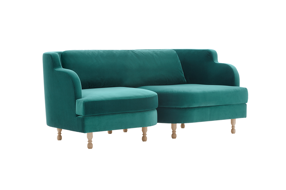 Delice 8 2 In Green Sandler Seating Fully Upholstered Sofa With Solid Wood Legs And Two Velcro Fixed Cushions Lounge Seating Dining Room Bench Seating Floor Seating
