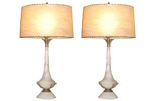 Pair Of Alabaster Art Deco Lamps With Original Shades Ebay