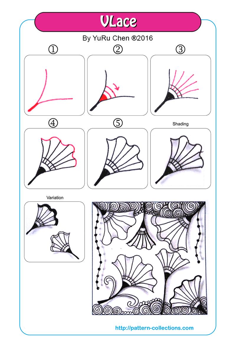 VLace | Zeichnen schritt für schritt, Zentangle und Zentangle muster