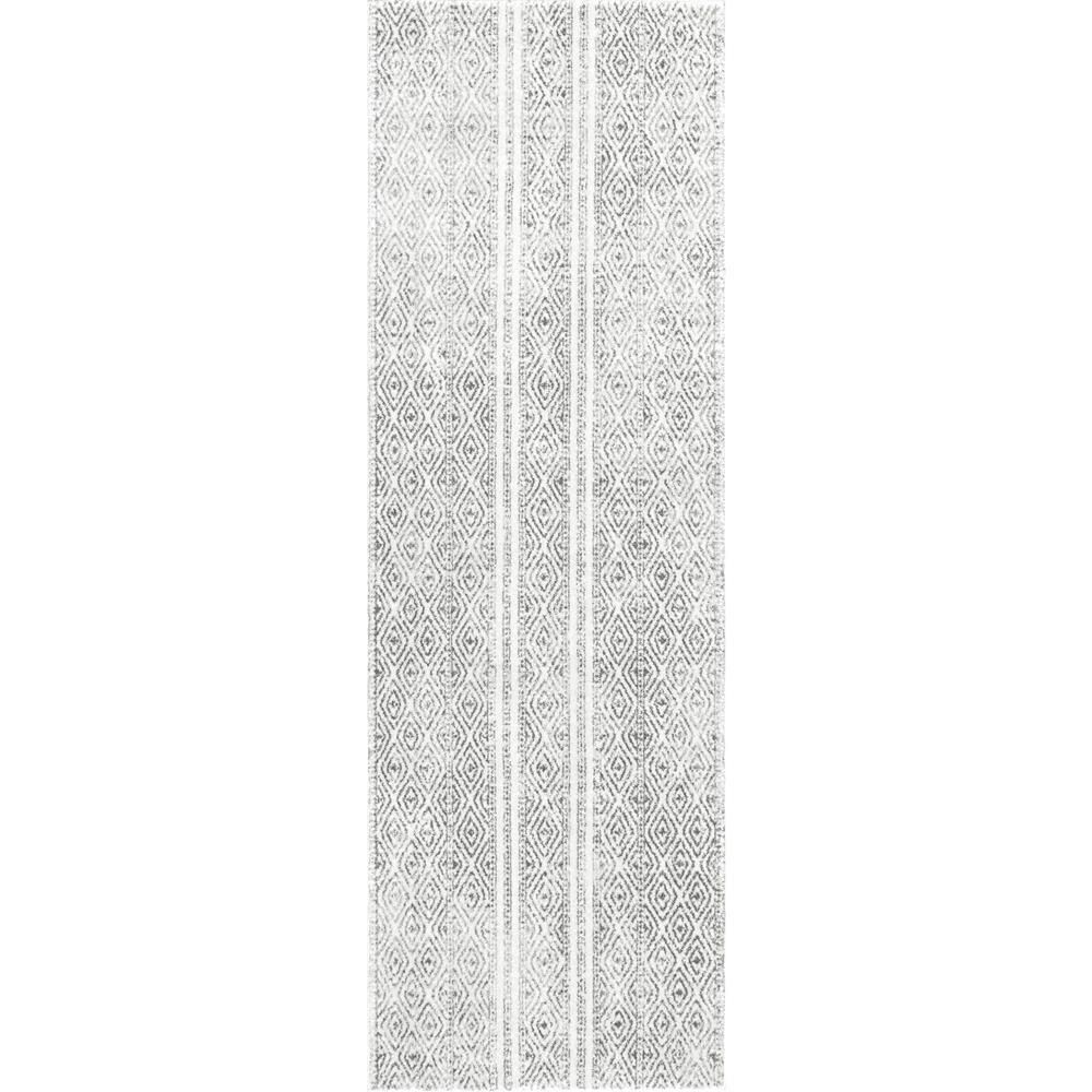 Nuloom Sarina Tribal Diamond Striped Gray 3 Ft X 12 Ft Runner Rug In 2020 Area Rugs Area Rug Sizes Rugs