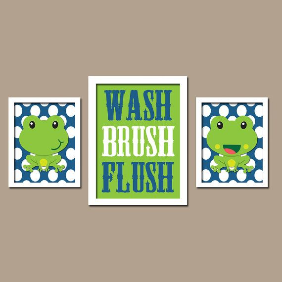 FROG Bathroom, Frog Wall Art, CANVAS Or Prints Frogs Theme Bathroom, WASH  Brush Flush, Frog Chevron Set Of 3 Boy Girl Bathroom Decor