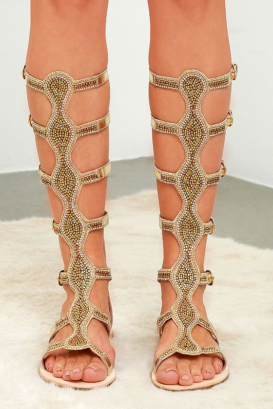 The Rebels Velocity Gold Leather Tall Beaded Gladiator Sandals are fit for  a Bohemian Queen