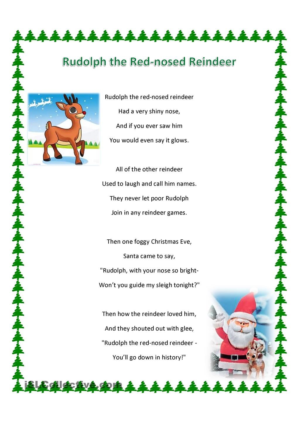 Ambitious image intended for lyrics rudolph the red nosed reindeer printable
