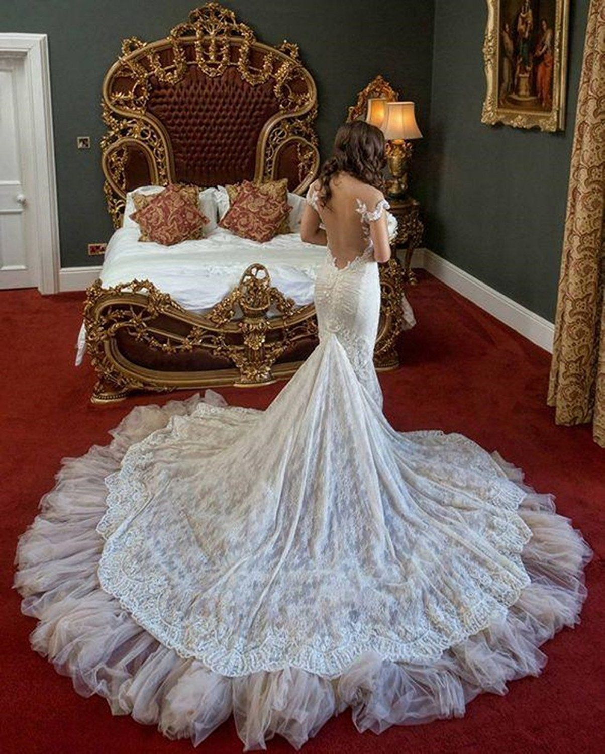 Uryouthstyle Off Shoulder Bridal Gowns Lace Mermaid Chapel Train