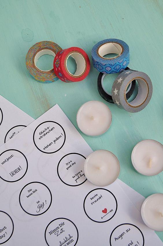 diy teelichter mit gl cksbotschaft freebie bastel ideen pinterest geschenke basteln. Black Bedroom Furniture Sets. Home Design Ideas