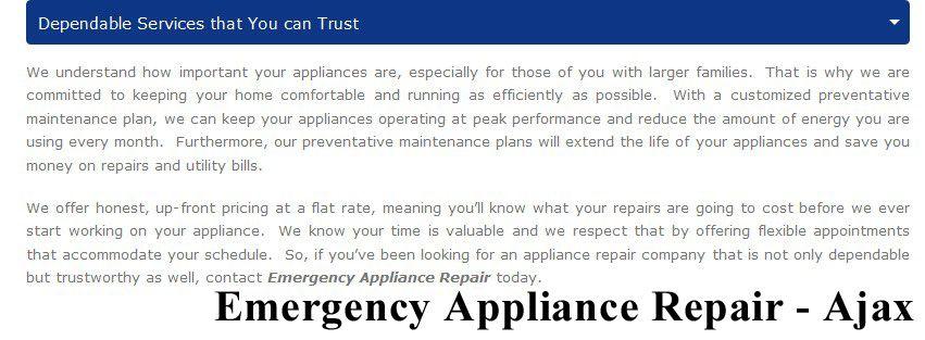 Emergency appliance repair 95 bayly st w 200 ajax on l1s