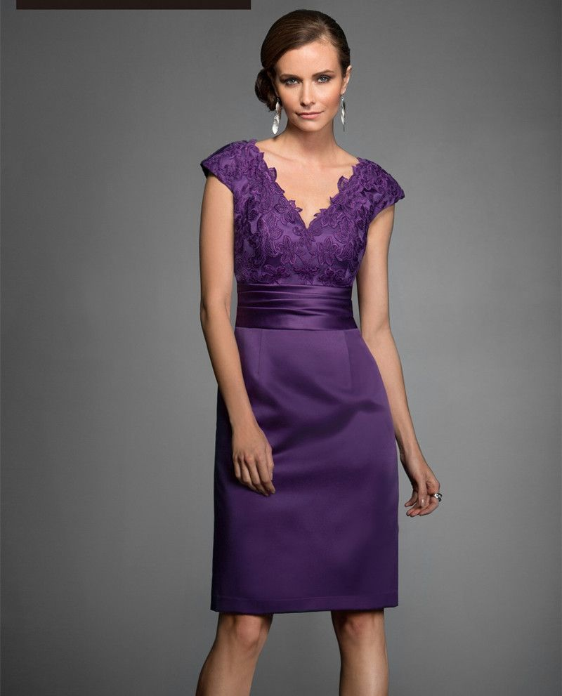 Don\'s Bridal Sexy Dress Purple Mother of the Bride Dresses Knee ...