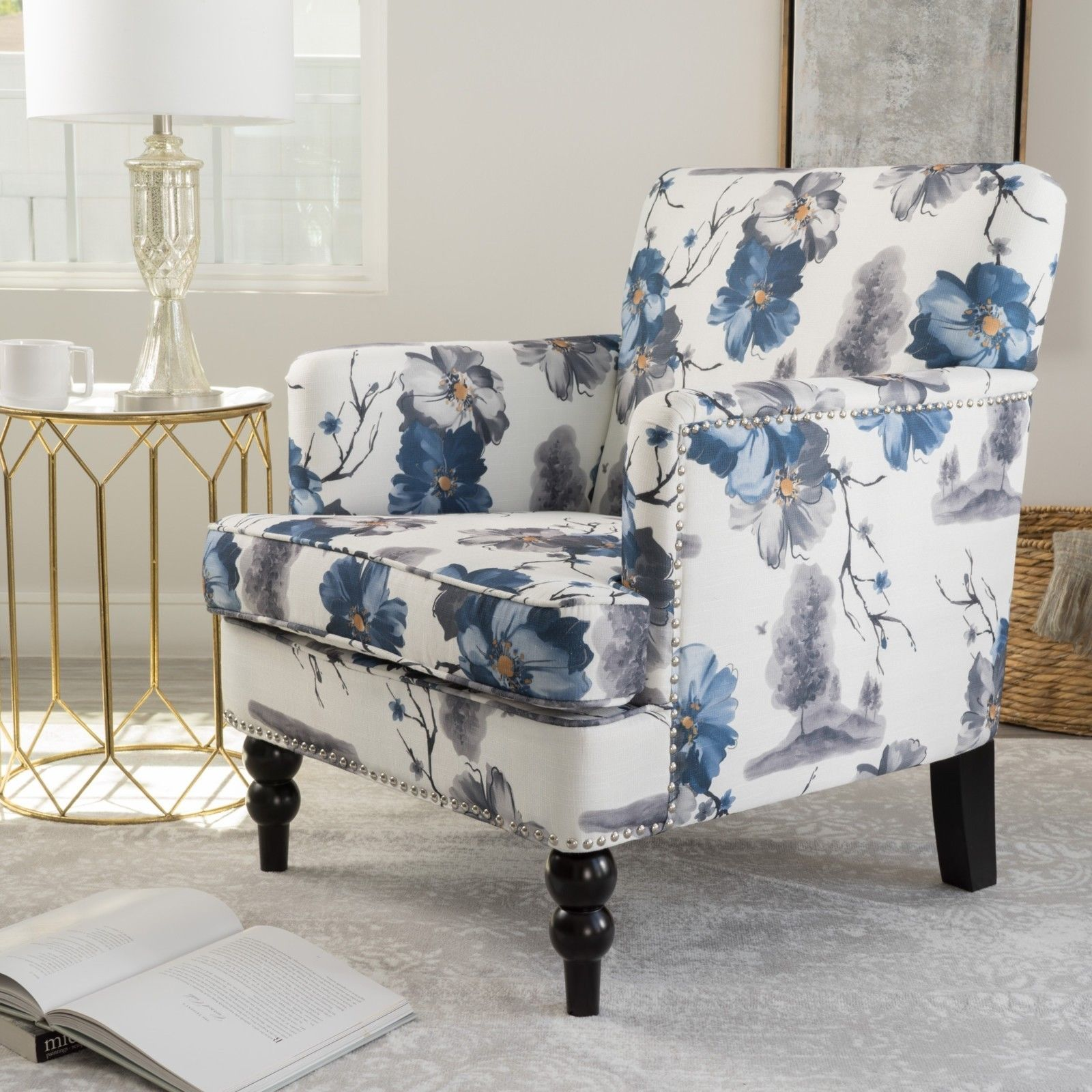 Denim Wing Back Accent Chair Accent Chairs Chair Wingback Chair